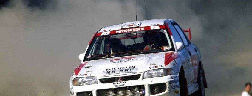 Tommi Makinen con la Mitsubishi Lancer Evo nel WRC 1996