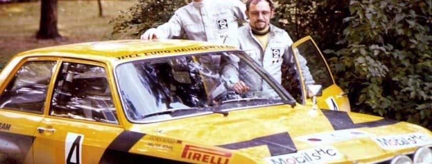 Walter Rohrl con l'Opel Ascona nel 1974