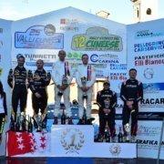 Il podio del Rally Valli Cuneesi nella foto di Elio Magnano