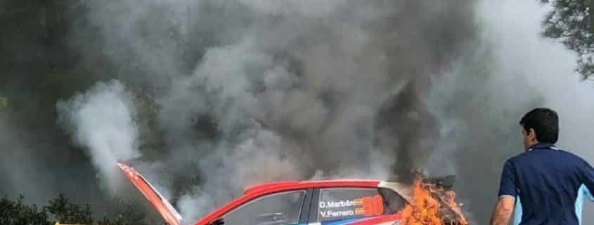Una delle cinque Volkswagen Polo GTI R5 andate a fuoco