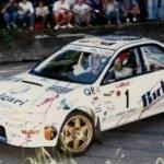 Andrea Dallavilla corre verso la vittoria del Rally Lana 1997