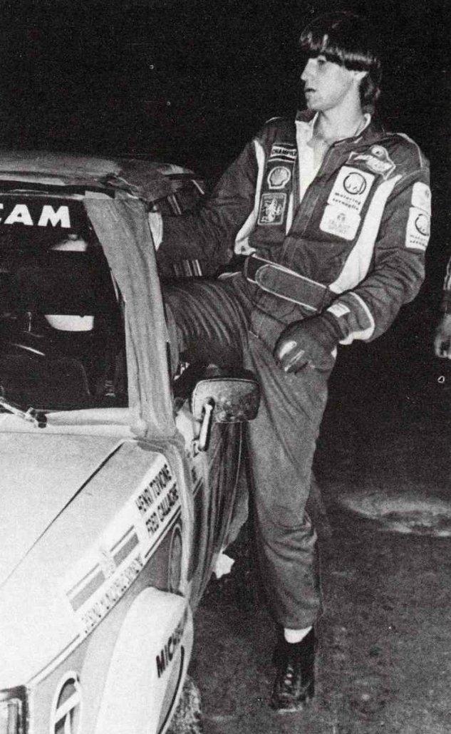 Henri Toivonen nel 1981 durante una pausa del Rally di Sanremo, valevole come Rally d'Italia