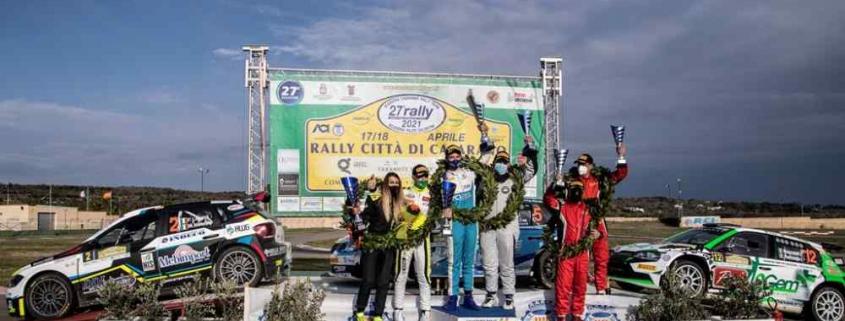 Il podio del Rally Città di Casarano 2021