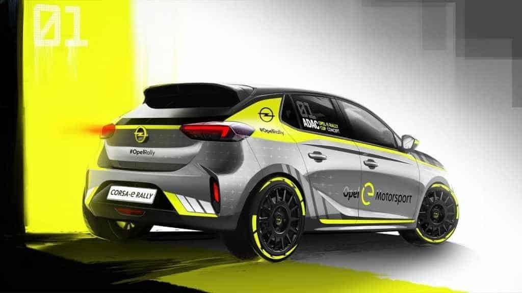 Il posteriore della Opel Corsa e-Rally retro