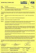 Il verbale dei Commissari che penalizza Fourmaux al Safari 2021